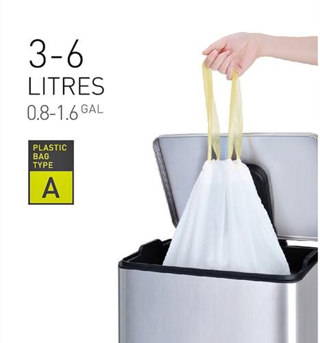 Afvalzak EKO met  trekband 3-6 liter  type A wit