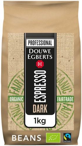 Koffie Douwe Egberts espresso bonen dark roast Organic en Fairtrade 1000gr