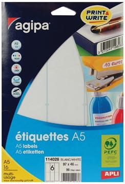 Agipa witte etiketten Print & Write ft 97 x 46 mm, 96 stuks, 6 per blad