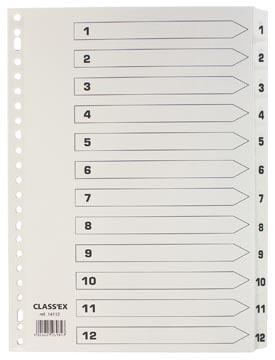Kartonnen tabbladen 12-delig met cijfers 1-12