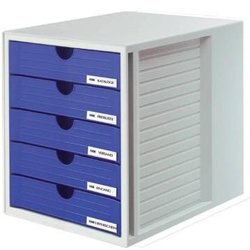Bureau ladebox plastic 5 laadjes Han gesloten laden Blauw