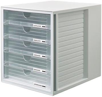 Bureau Met Kast En Laden.Han Ladenblok Systembox Met 5 Gesloten Laden Transparant Bij Pro Office