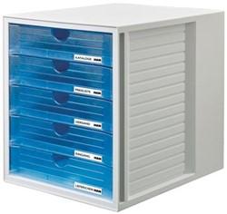Han ladenblok Systembox met 5 gesloten laden, transparant blauw