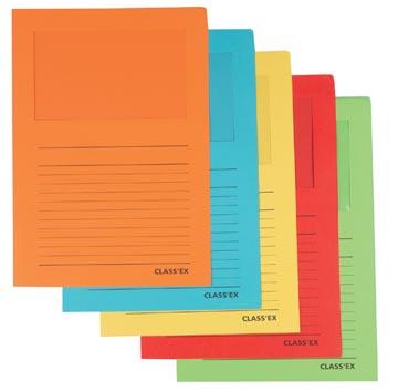Class'ex insteekmap karton met venster geassorteerde intense kleuren