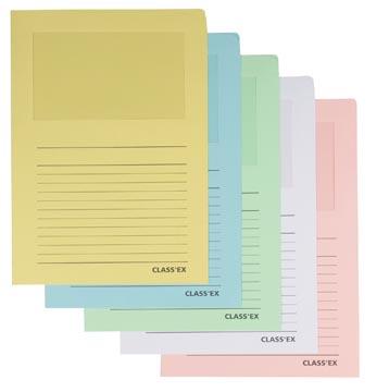 Class'ex insteekmap karton met venster geassorteerde pastel kleuren