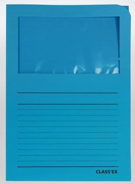 Class'ex insteekmap karton met venster intens blauw 100 stuks