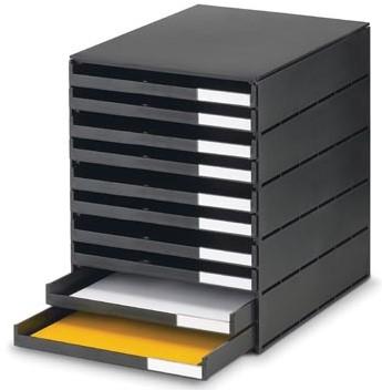Bureau ladekastje van gerecycled plastic met 10 open laden zwart