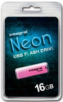Integral USB Stick Neon capaciteit: 16 Gb roze