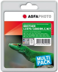 AGFA Photo inktcartridge Brother LC970/LC1000SET 21ml blk+3x11ml ink cmy chip