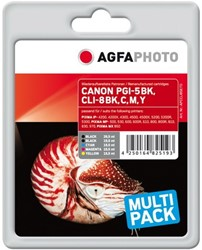 AGFA Photo inktcartridge CANON CLI8SET  MP-800 alle kleuren 1x26ml blk+4x15,5ml cmyk chip