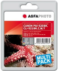 AGFA Photo inktcartridge CANON CLI521SET  MP-450 alle kleuren 1x20ml bk+4x10,5ml cmyk chip