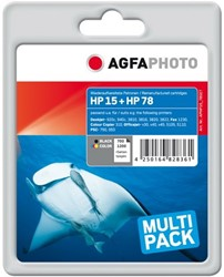 HP 15 + 78 compatible cartridge AgfaPhoto C6615D + C6578A zwart + kleuren