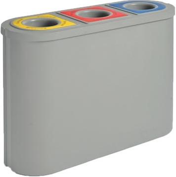 Prullenbak 3 vakken Eko Triomf 3x 45 liter grijs