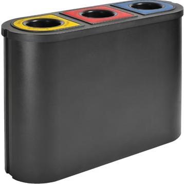 Trio afvalbak Eko Triomf 3x 45 liter zwart