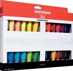 Amsterdam acrylverf, 24 tubes van 20 ml in geassorteerde kleuren