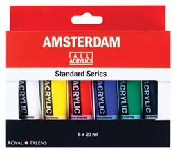 Talens acrylverf Amsterdam 6 tubes van 20 ml in geassorteerde kleuren