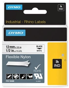 Dymo RHINO label 12 mm zwart op wit nylon