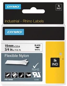 Dymo RHINO label 19 mm zwart op wit nylon