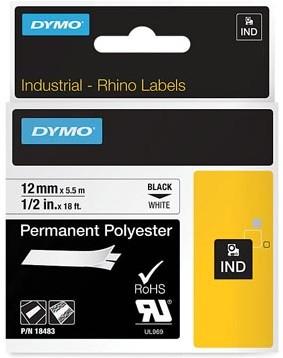 Dymo RHINO label 12 mm zwart op wit polyester