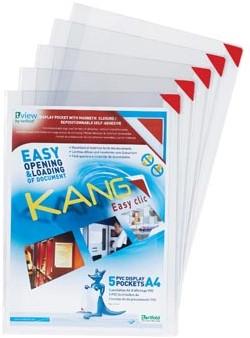 Zelfklevende presentatietassen Tarifold Kang Easy Clic magnetisch rood