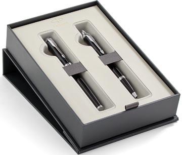 Parker giftbox Duo vulpen medium + balpen, zwart