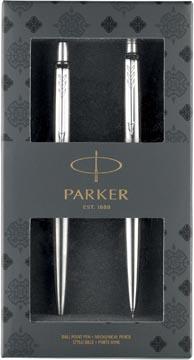 Parker giftset Jotter balpen Stainless Steel en Jotter vulpotlood Stainless Steel