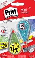 Pritt mini glitter correctieroller, blister met 2 stuks waarvan 2de aan halve prijs