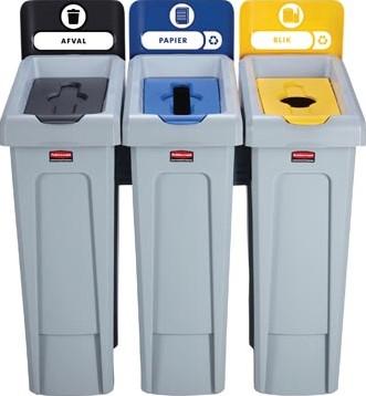 Rubbermaid Slim Jim Recyclingstation voor afval papier en kunststof zwart / blauw / geel