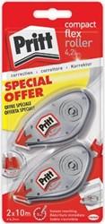 Pritt correctieroller Compact Flex 4,2 mm x 10 m, blister met 2 stuks