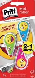 Pritt mini correctieroller emoji, blister 2 + 1 gratis