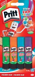 Pritt plakstift Fun Colors 10 g, blister van 4 stuks