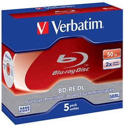 VERBATIM BD-RE 50GB RW 2x (5) JC 43760 dual layer rewritable