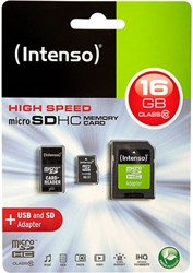 INTENSO MICRO SD CARD 16GB 3413770 20MB/s class 10 with adapter