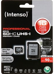 INTENSO MICRO SDHC UHSI 16GB 3433470 Klasse 10 incl adapter