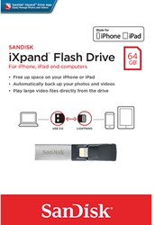 SANDISK IXPAND USB DRIVE 64GB USB 3.0 SDIX30N-064G-GN6NN Apple Lightning