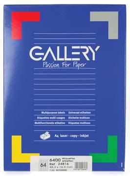 Gallery universele etiketten  48,3 x 16,9mm 64 etiketten per vel