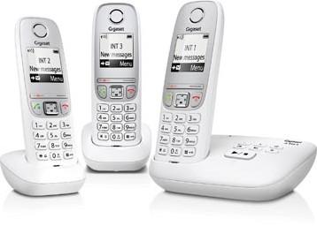 Gigaset A415 DECT draadloze telefoon met antwoordapparaat met 2 extra handsets wit