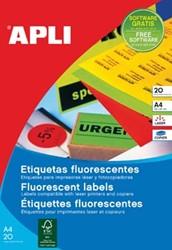 Apli fluorescerente etiketten 210 x 297 mm (b x h) rood