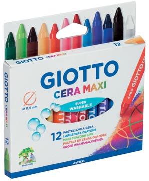 Giotto Cera Maxi waskrijt, kartonnen etui met 12 stuks in geassorteerde kleuren