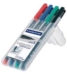 Staedtler Lumocolor CD/DVD/BD-marker opstelbare box met 4 stuks in geassorteerde kleuren: blauw, rood,...