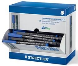 Staedtler OHP-marker Lumocolor permanent, medium punt, doos van 30 en 5 stuks gratis, zwart en blauw