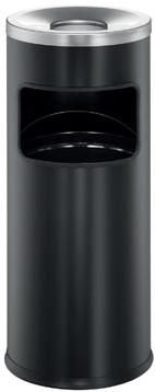Durable afvalbak met asbak Safe 17 liter in metaal zwart