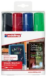 Edding krijtmarker e-4090 schuine punt etui van 4 stuks: zwart, rood, blauw en lichtgroen