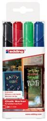 Edding krijtmarker e-4095 ronde punt etui van 4 stuks:  zwart, rood, blauw en lichtgroen