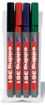 Edding whiteboard marker e-361 etui 4 stuks in geassorteerde kleuren
