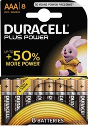 Duracell batterijen Plus Power AAA, blister van 8 stuks