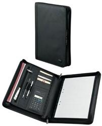 Leren schrijfmap A4 met ritssluiting en rekenmachine zwart