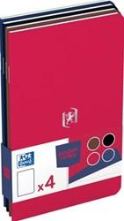 Oxford Pocket Notes, ft 9 x14 cm, gelijnd, 48 bladzijden, geassorteerde classic kleuren, pak van 4 stuks