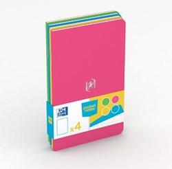Oxford Pocket Notes, ft 9 x 14 cm, gelijnd, 48 bladzijden, geassorteerde fun kleuren, pak van 4 stuks