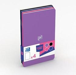 Oxford Pocket Notes, ft 9 x 14 cm, gelijnd, 48 bladzijden, geassorteerde mixed kleuren, pak van 4 stuks